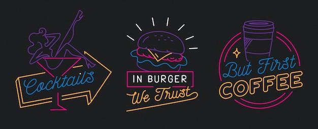 Signe de restaurant en vecteur de style de ligne Vecteur Premium