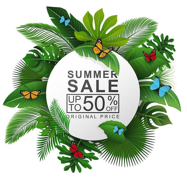 Signe rond avec texte de feuilles tropicales et vente d'été Vecteur Premium