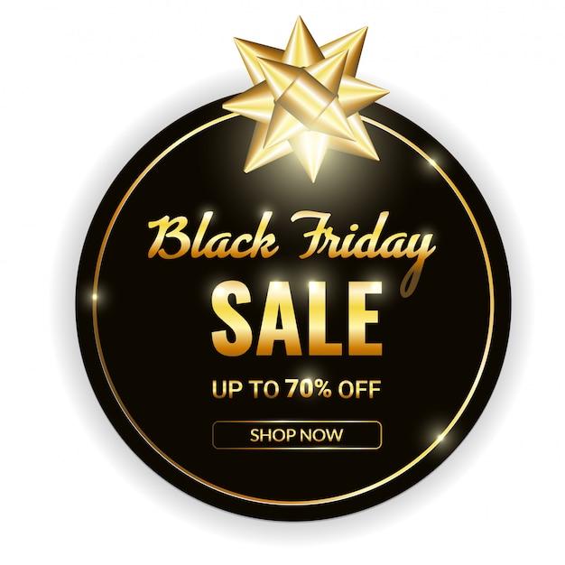 Signe de vecteur blanc vendredi vente noir dans un cadre en or avec un arc doré Vecteur Premium