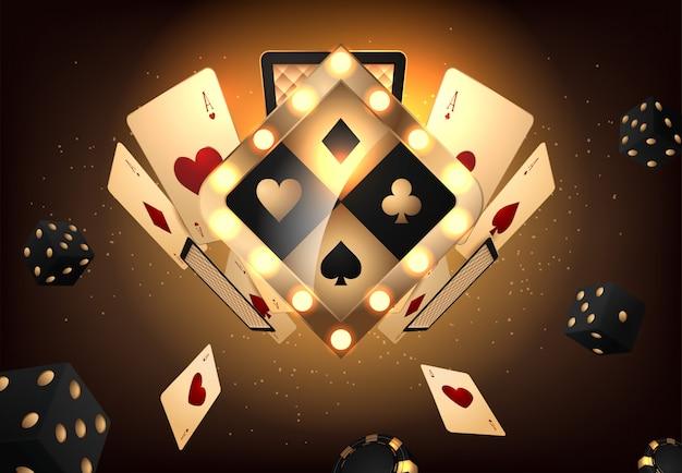 Signe de vegas vector casino doré Vecteur Premium