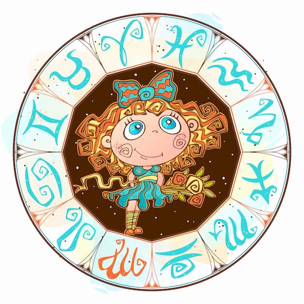 Signe vierge dans le cercle du zodiaque Vecteur Premium