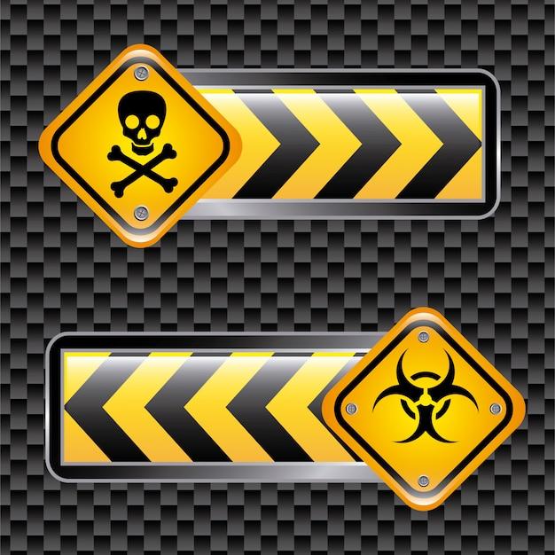 Signes de biohazard sur illustration vectorielle fond noir Vecteur Premium