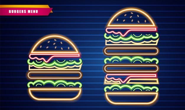 Signes de burgers au néon Vecteur Premium