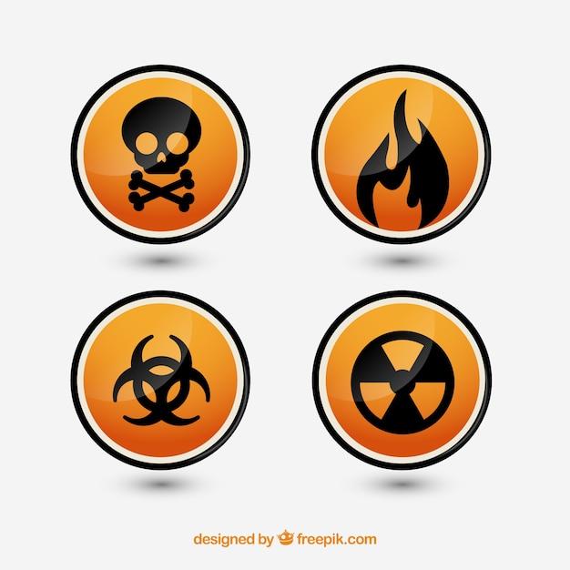 Signes De Danger Définies Vecteur gratuit