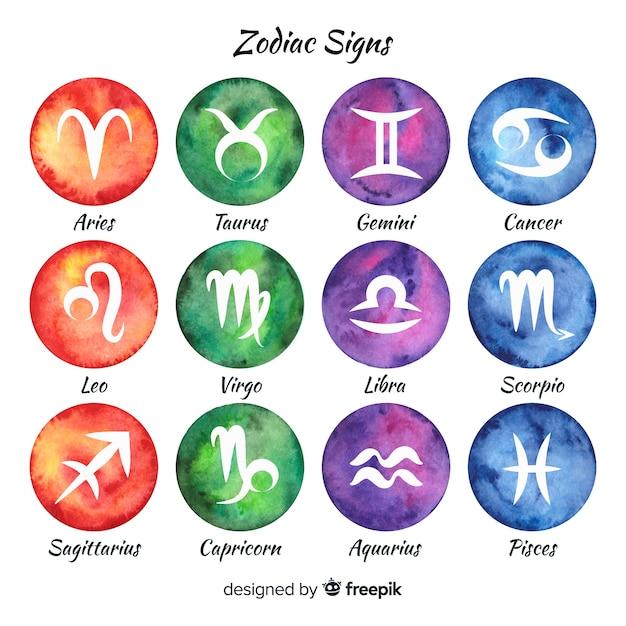 Signes du zodiaque aquarelle Vecteur gratuit