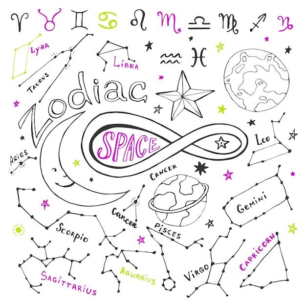 Calendrier Du Zodiaque.Signes Du Zodiaque Collection De Vecteur Dessine Main Avec