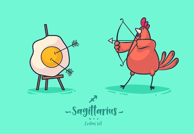 Signes Du Zodiaque Sagittaire. Coq Et Omelette. Affiche De Fond De Carte De Voeux Du Zodiaque. Illustration Vectorielle. Vecteur Premium