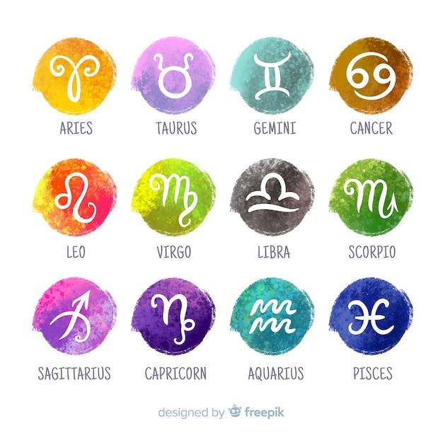 Signes Du Zodiaque Vecteur Premium