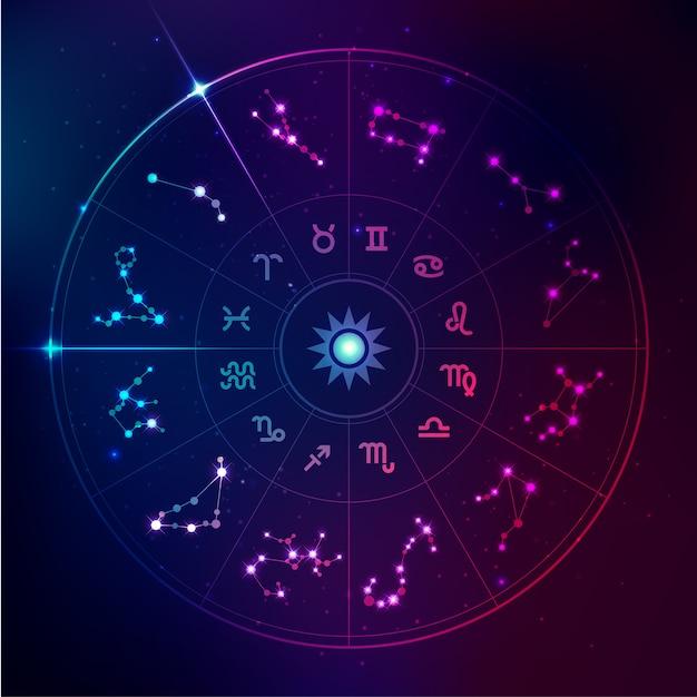 Signes d'horoscope Vecteur Premium