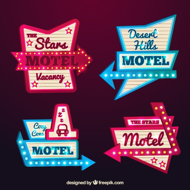 Signes lumineux du motel Vecteur gratuit