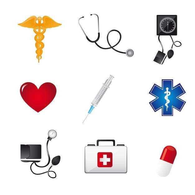 Signes médicaux colorés sur l'illustration vectorielle fond blanc Vecteur Premium