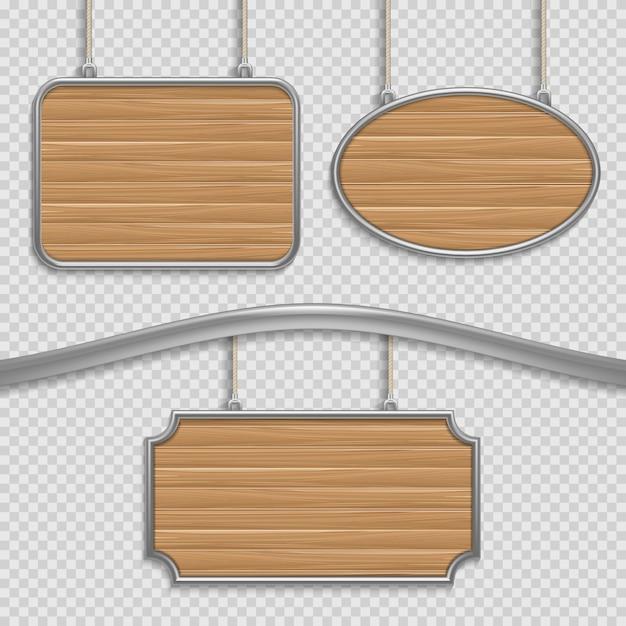 Signes suspendus en bois vides isolés. jeu de bannières en bois, illustration du cadre de panneau en bois Vecteur Premium
