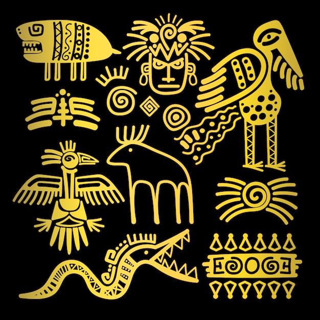 Signes et symboles traditionnels indiens dorés Vecteur Premium
