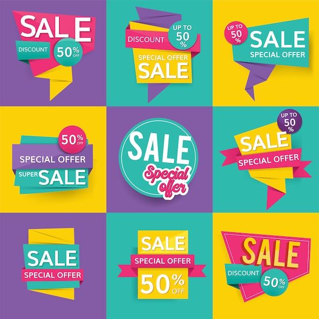 Signes de vente colorés Vecteur gratuit