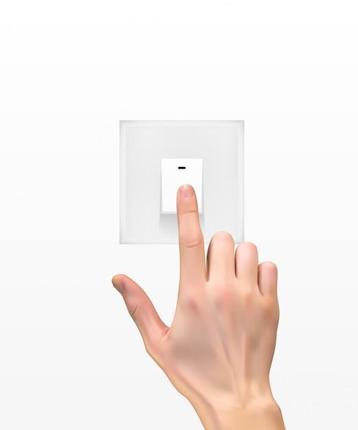 Silhouette 3d réaliste de la main avec interrupteur Vecteur Premium