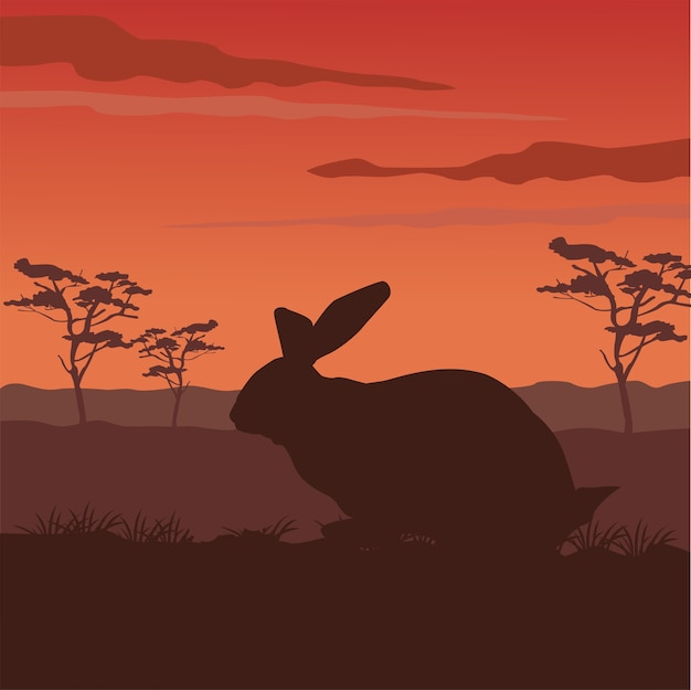 Silhouette D'animal Mignon Lapin Sauvage Avec Scène De Paysage Vecteur Premium