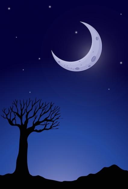 Silhouette arbre la nuit Vecteur gratuit