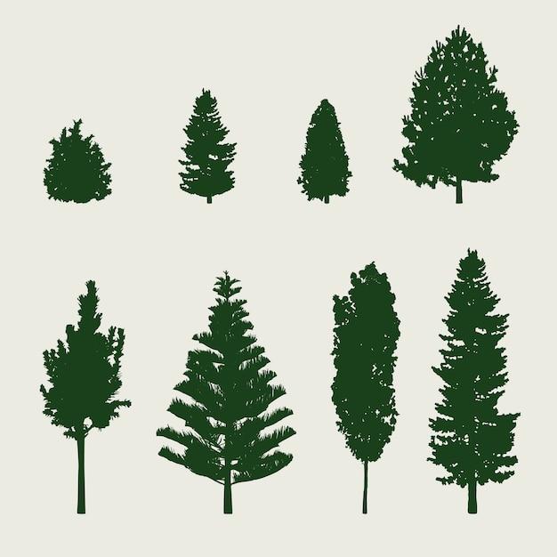 Silhouette d'arbre Vecteur gratuit
