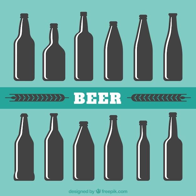Silhouette De Bouteilles De Bière Vecteur gratuit