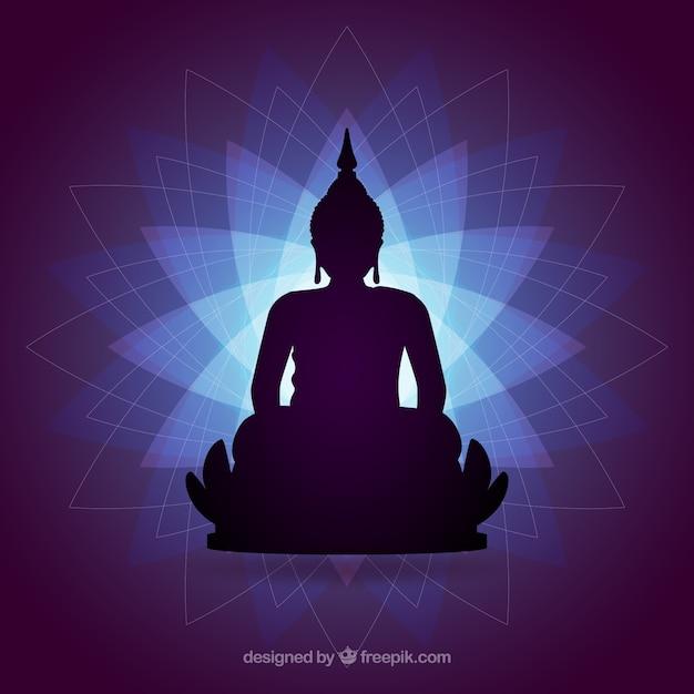 Silhouette De Budha Avec Un Design Plat Vecteur gratuit