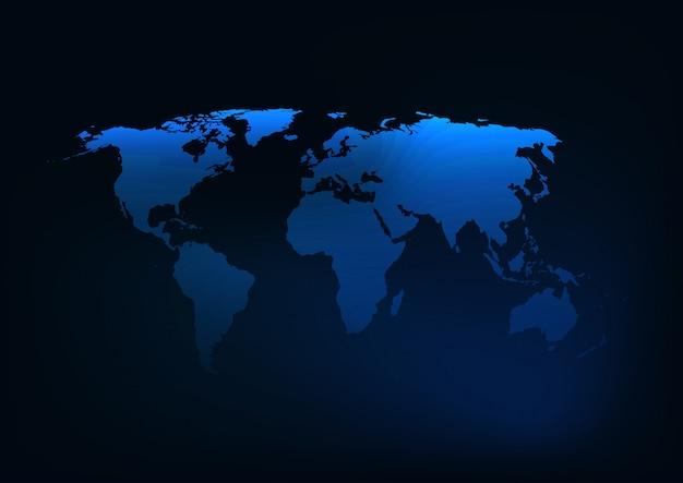 Silhouette de carte du monde bleu foncé rougeoyant futuriste. Vecteur Premium