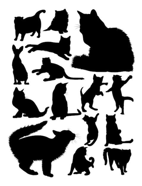 Silhouette de chats Vecteur Premium