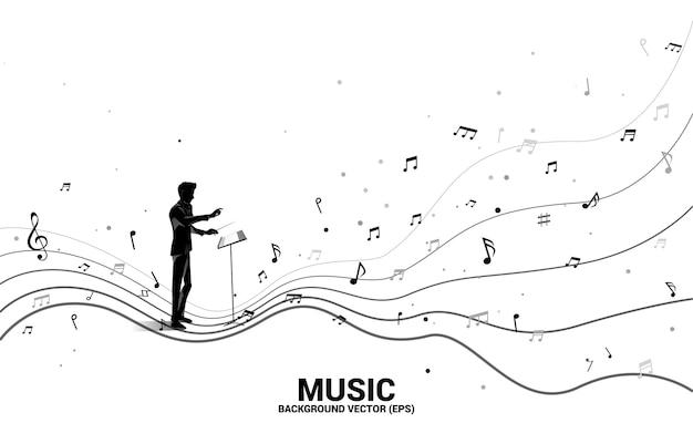Silhouette De Chef D'orchestre Avec Note De Musique De Forme De Flux Dansant. Musique De Fond De Concept Pour Enfants Et Enfants. Vecteur Premium