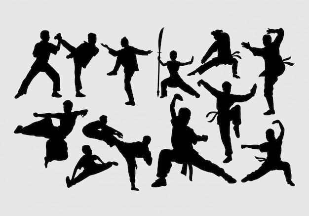 Silhouette de combat d'art martial Vecteur Premium