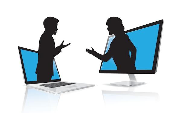 Silhouette De Communication D'entreprise Vecteur Premium