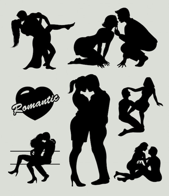 Silhouette de couple amour romantique Vecteur Premium