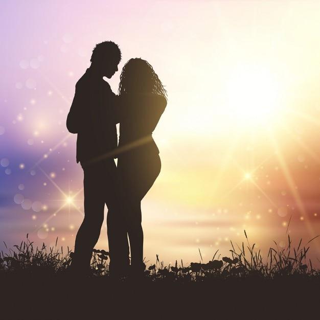 silhouette d 39 un couple valentines dans herbeuse sunset landscape t l charger des vecteurs. Black Bedroom Furniture Sets. Home Design Ideas