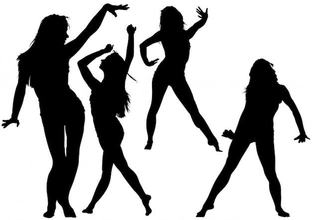 Silhouette, danse, jeune femme Vecteur Premium