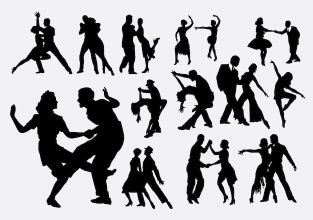 Silhouette De Danse Tango Et Salsa Vecteur Premium