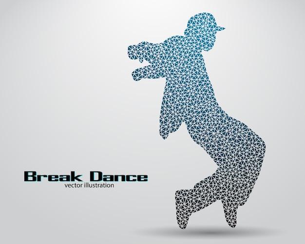 Silhouette D'un Danseur De Break Vecteur Premium