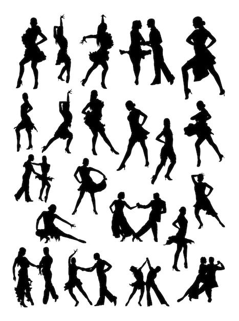 Silhouette de danseur de salsa Vecteur Premium