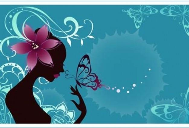 silhouette de beaut u00e9 fille avec des fleurs