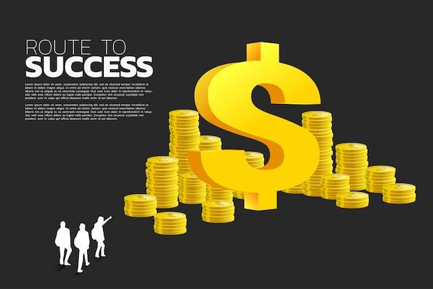 Silhouette du groupe de l'homme d'affaires au dollar Vecteur Premium