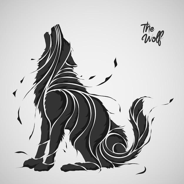 La silhouette d'éclaboussure de loup Vecteur Premium