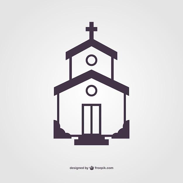 Silhouette De L'église Vecteur Premium