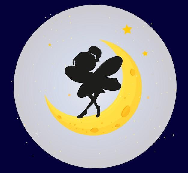 Silhouette De Fée Sur La Lune Vecteur gratuit