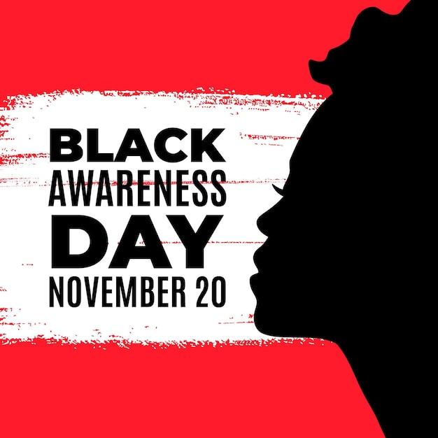 Silhouette De Femme Noire Journée De Sensibilisation Vecteur gratuit