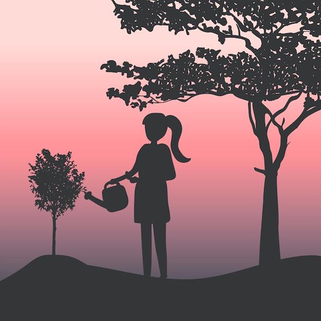 Silhouette, fille, arroser, vecteur plante Vecteur gratuit