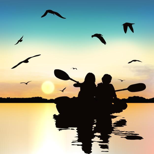 Silhouette de filles drôles, kayak. Vecteur Premium