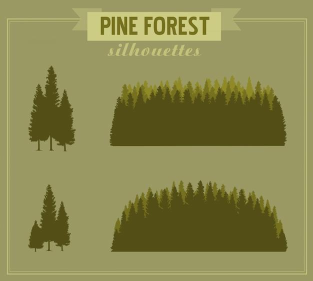 Silhouette de la forêt. silhouettes détaillées de forêt de pins et de bouquets de pins. silhouettes en bois de différentes formes Vecteur Premium