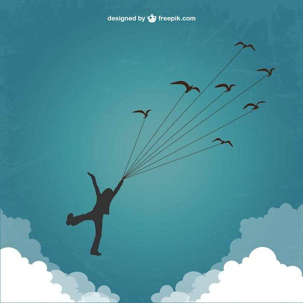 Silhouette de garçon de voler avec les oiseaux Vecteur gratuit