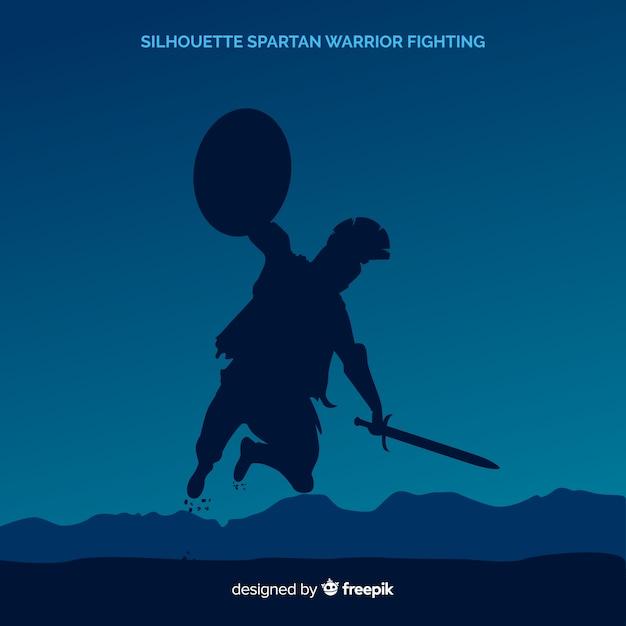 Silhouette d'un guerrier spartiate en formation Vecteur gratuit