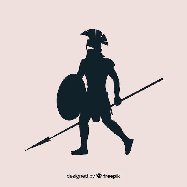 Silhouette de guerrier spartiate avec javelot Vecteur gratuit