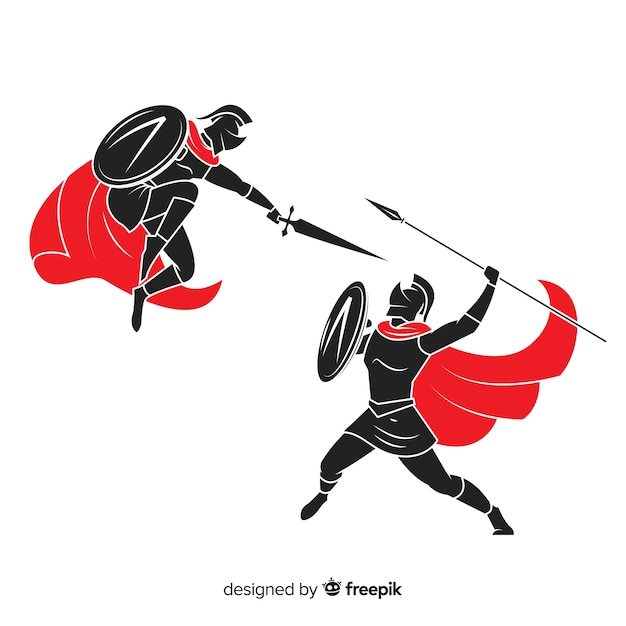 Silhouette de guerriers spartiates combattant Vecteur gratuit