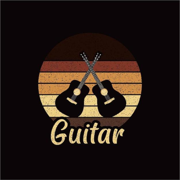 Silhouette De Guitare Vecteur Premium