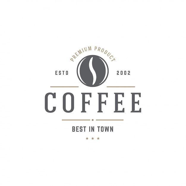 Silhouette De Haricot Modèle Café-restaurant Emblème Avec Illustration Vectorielle De Typographie Rétro Vecteur Premium